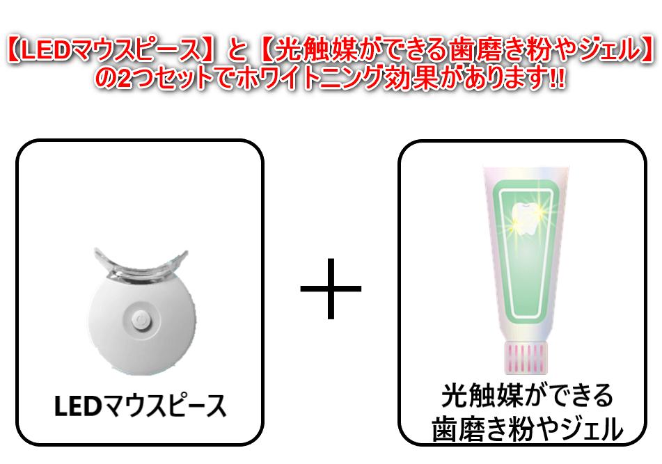 LEDマウスピースと光触媒ができる歯磨き粉やジェルがあって初めてホワイトニング効果がある