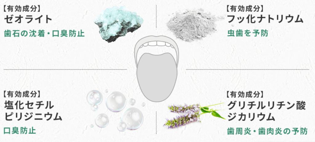 歯磨き粉ホワイトニングブレスマイルクリアの有効成分